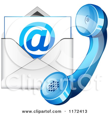Clipart Of A Contact Icon Of A Telephone And Email Envelope.