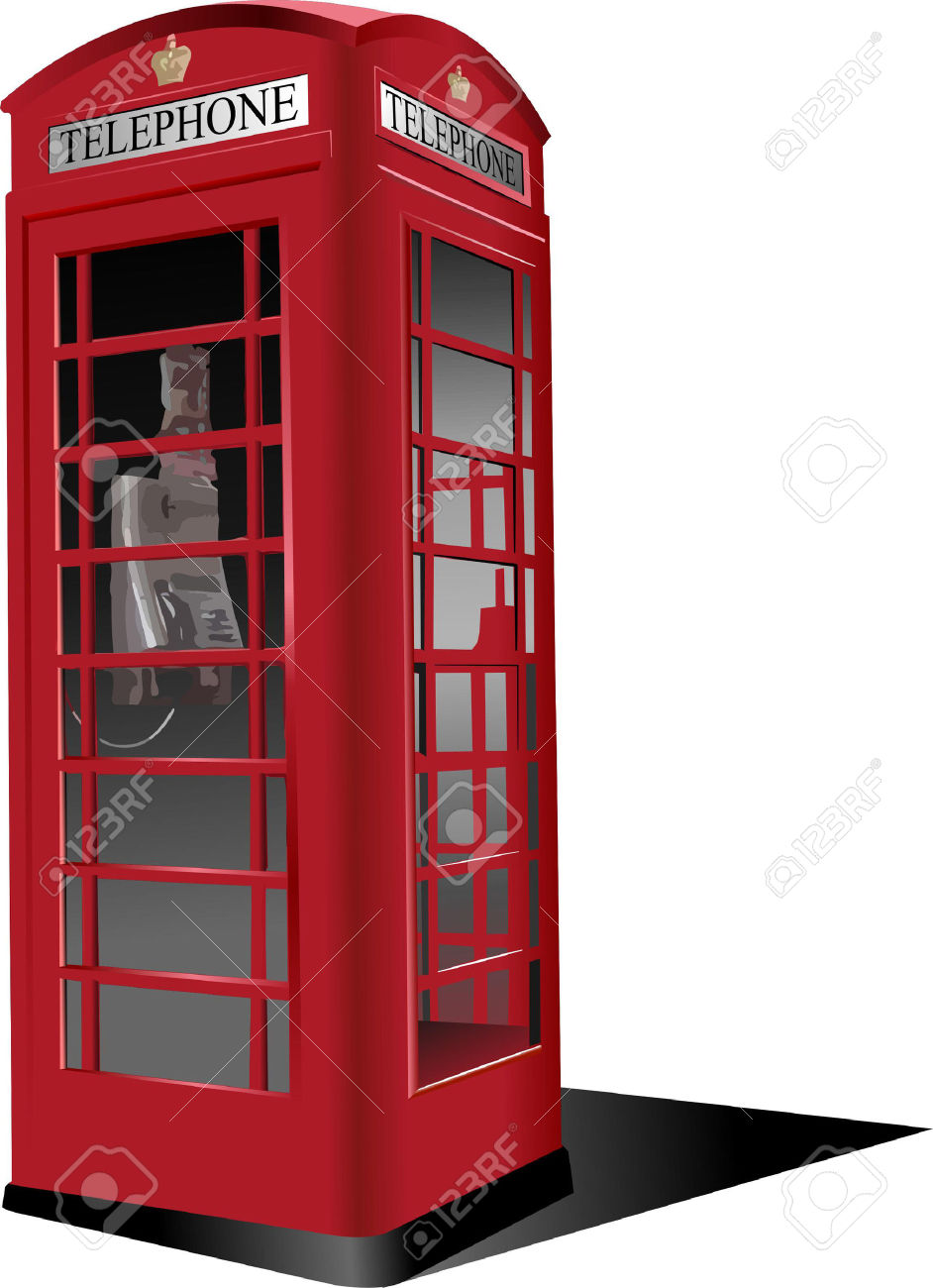 London Red Public Phone Box. Vector Illustration Royalty Free.