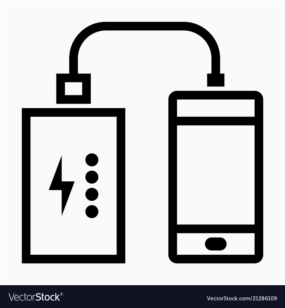 Outline beautiful portable charger icon.