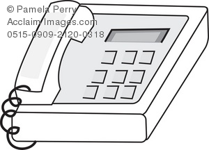 Black and White Clip Art Illustration of an Office Phone.