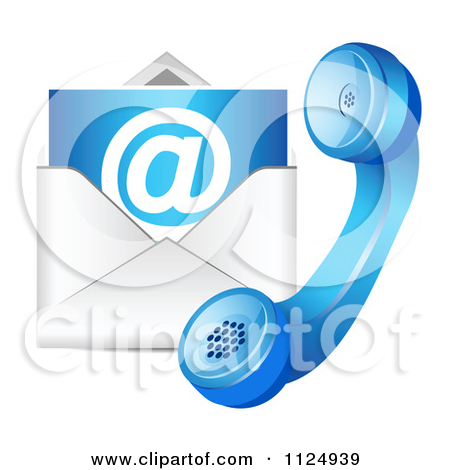 Clipart of a Blue Contact Telphone and Email Icon.