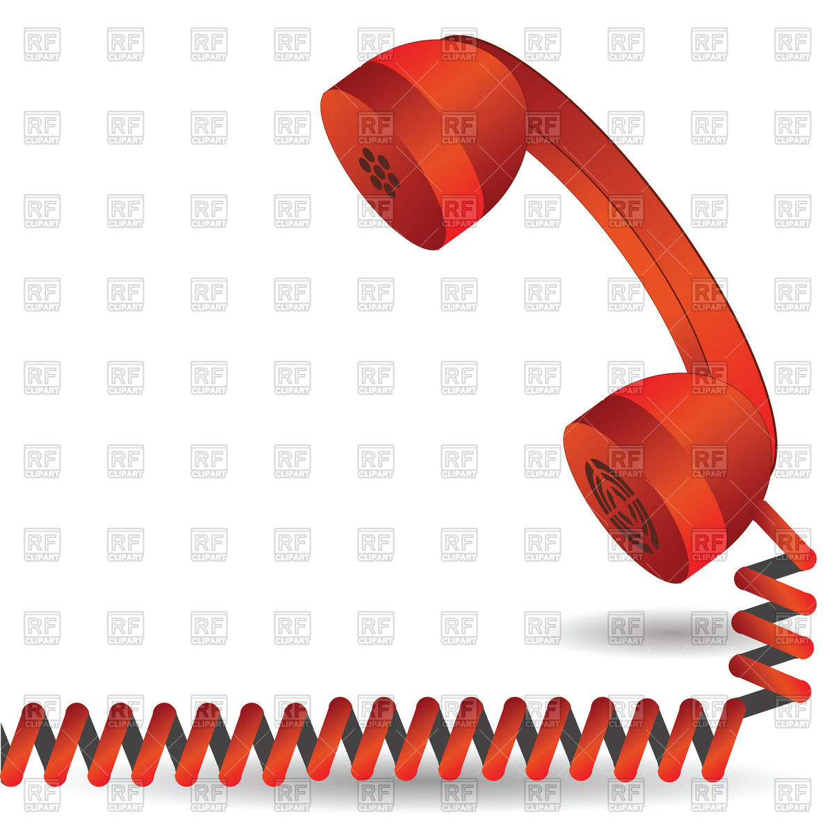 Red telephone handset with spiral cord Vector Image #39269.