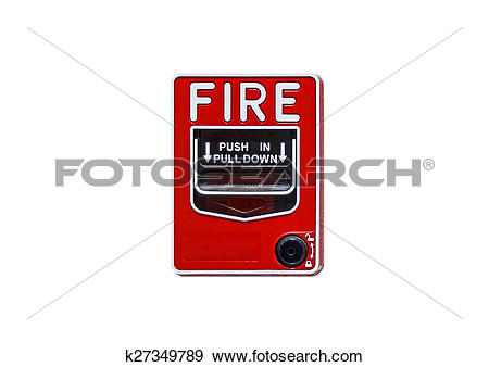 Stock Photograph of fire break glass with firefighter's phone jack.