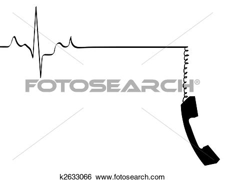 Stock Illustration of phone line rhythm going dead with dangling.