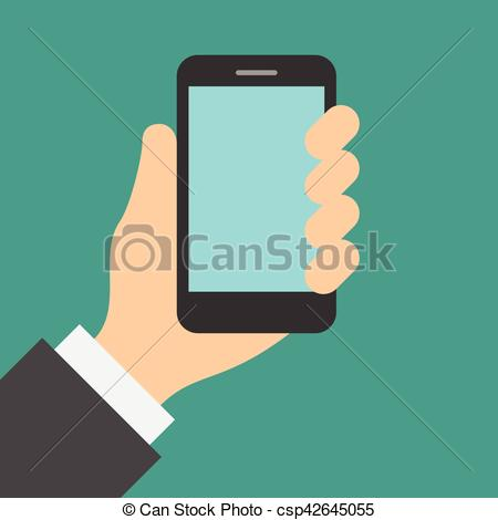 Hand Holding Cell Phone Clipart.