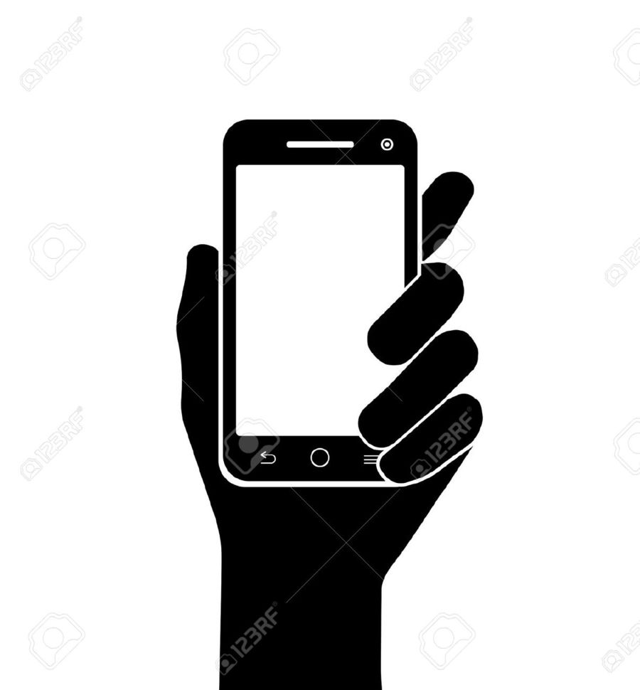 Smartphone, Silhouette, Illustration, Hand, Technology.