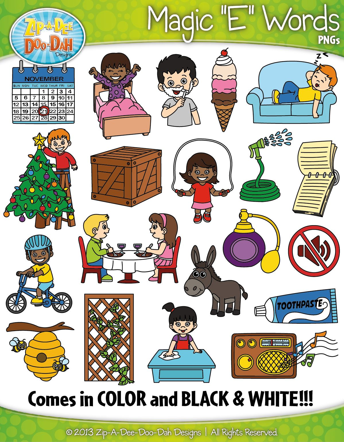 Magic E Phonics Words Clipart {Zip.
