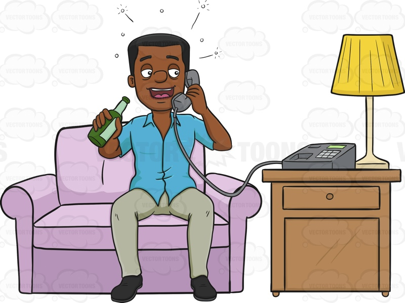 African American Man Phoning Someone While Drunk Cartoon Clipart.