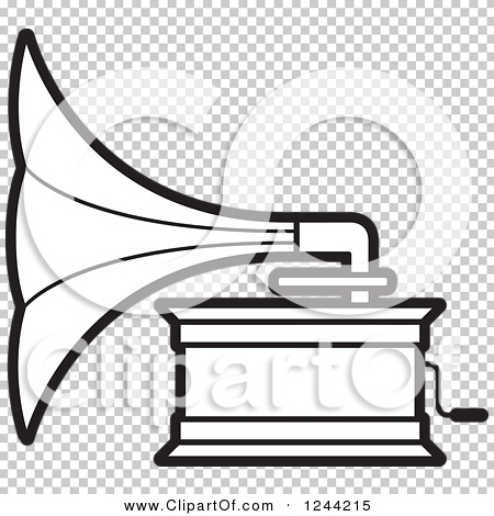 Clipart of a Black and White Phonograph Gramophone 3.
