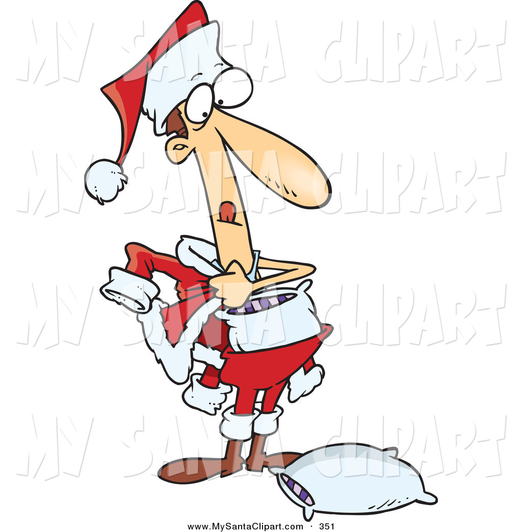 Christmas Clip Art of a Phony White Man Stuffing Pillows into a.