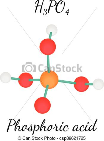 Vector Illustration of H3PO4 Phosphoric acid molecule.