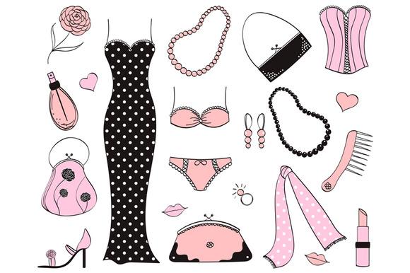 Ladies accessories clipart.