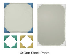 Blue photo corners for photo albums and scrapbooking stock.