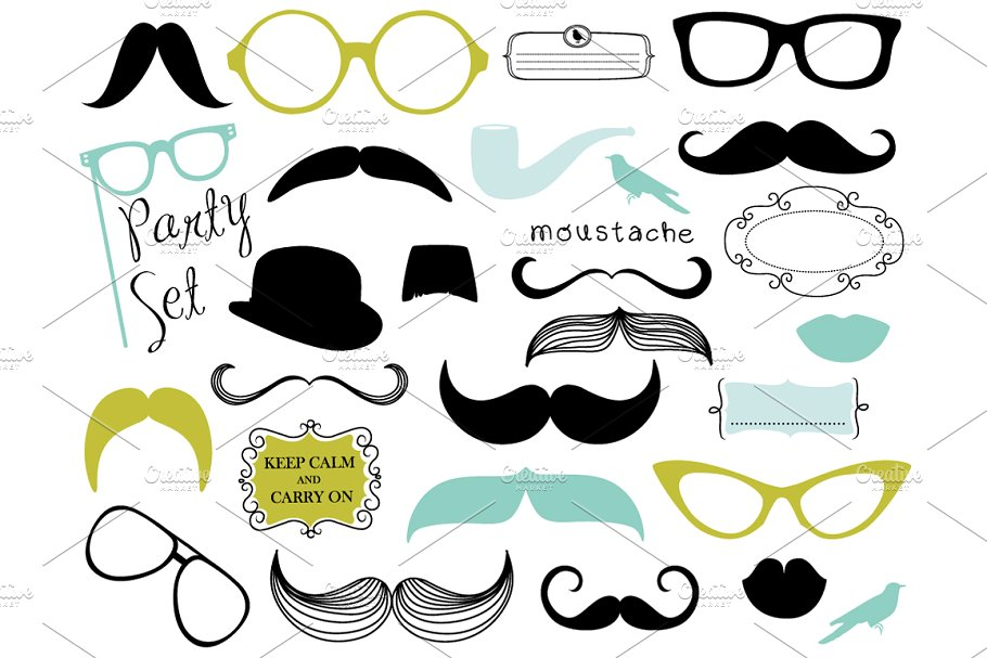 Mustache, Spectacles, Lips Clip Art.