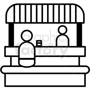 black and white food booth icon clipart. Royalty.