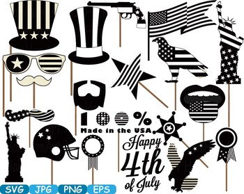 Props 4th of July Party Photo Booth Prop Silhouette america usa clipart.