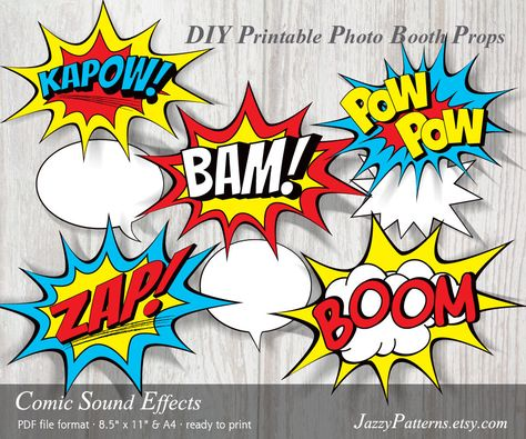 Comic book sound effects printable photo booth props.
