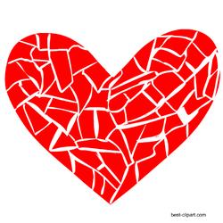 Broken heart or mosaic heart clipart free.