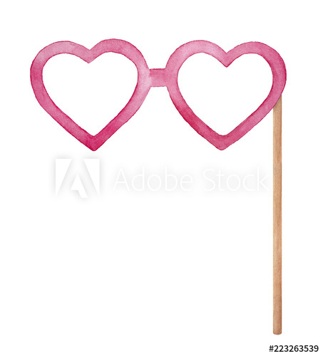 Heart shaped eye glasses on wooden stick, photo booth props.