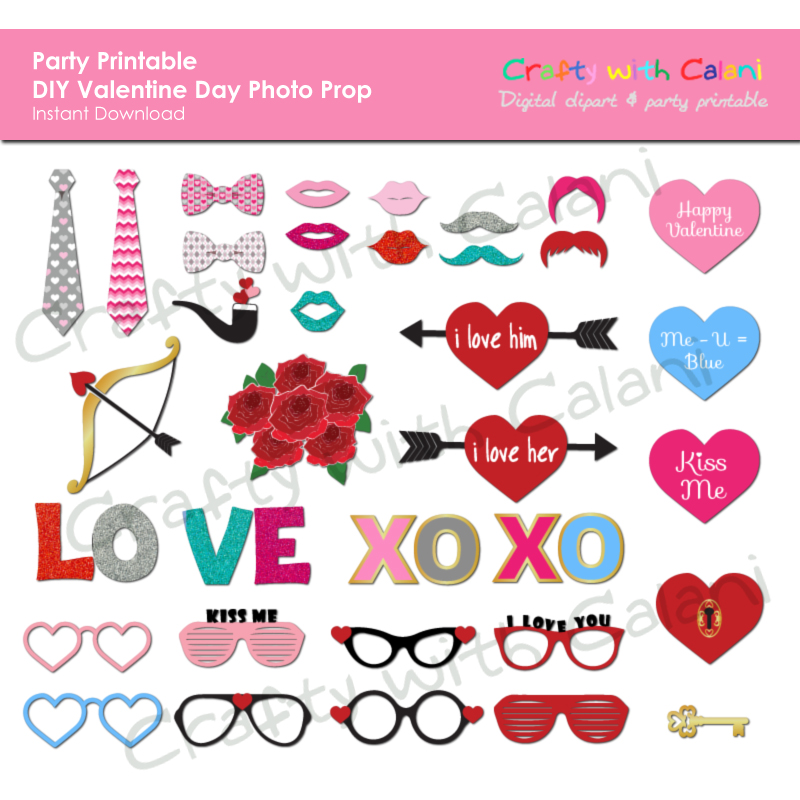 Valentine's Day Photo Booth Prop, Instant Download, Party.
