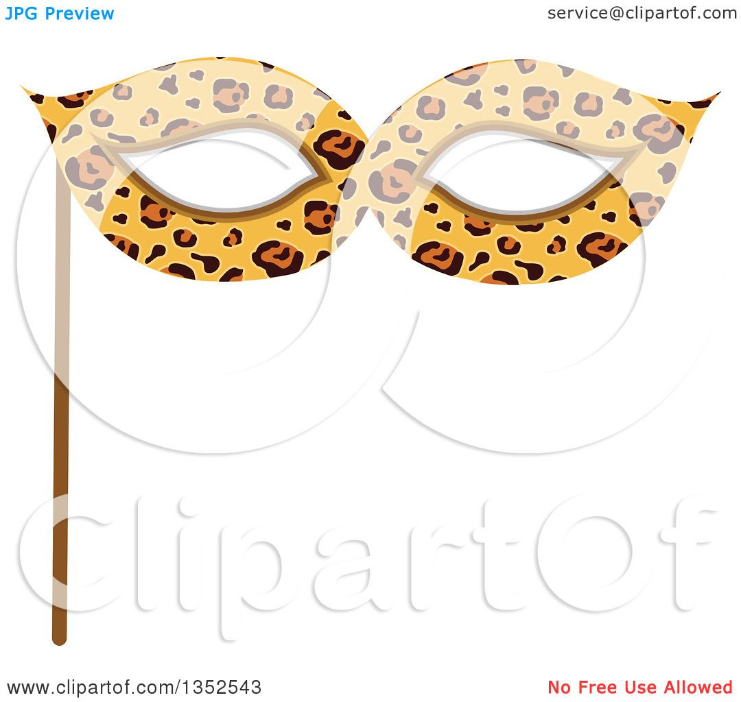 Clipart of a Photo Booth Prop Leopard Print Eye Mask.