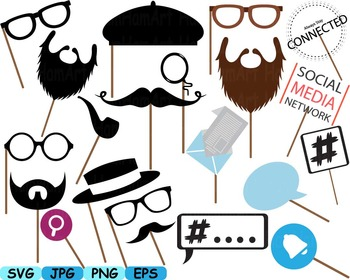 Party Props Photo Booth Prop Emoji clip art svg Glasses Hats Ties Lips.