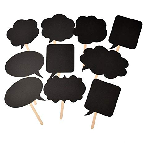 Pixnor Blackboards Booth Signs Speech Bubbles Wedding Birthday Party Photo  Booth Props, 10pcs.