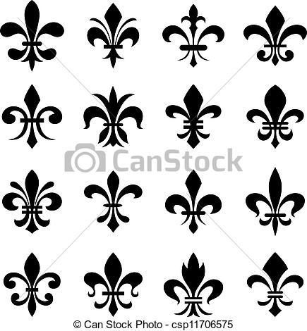 Vectors Illustration of classic fleur de lys symbol set.