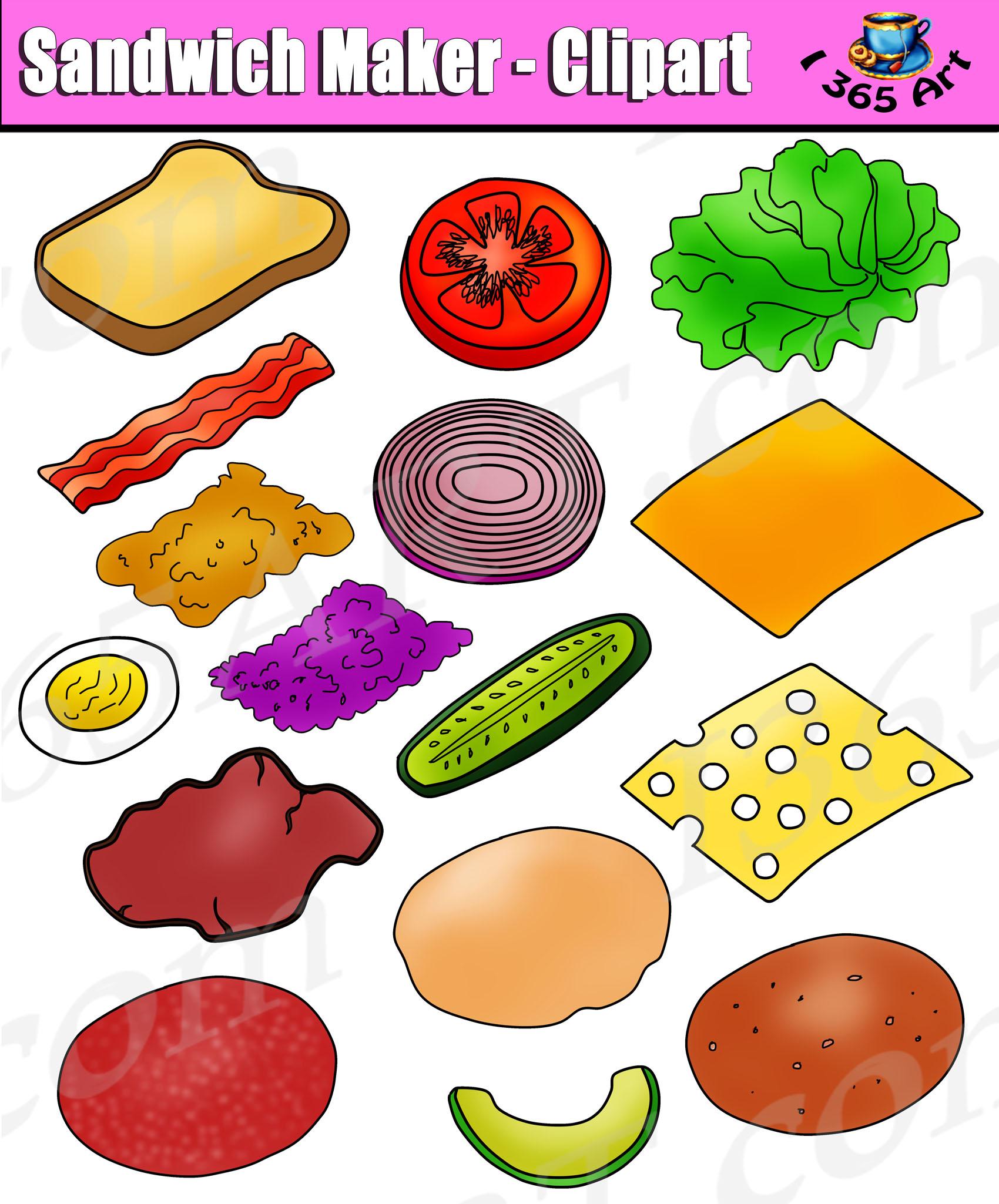 Build Sandwich Clipart Set.
