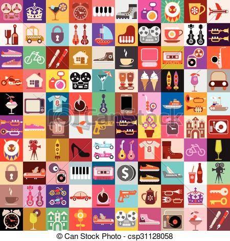 Clipart Vector of Random Objects Collage.