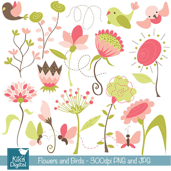 Flowers and Birds Digital Clipart.