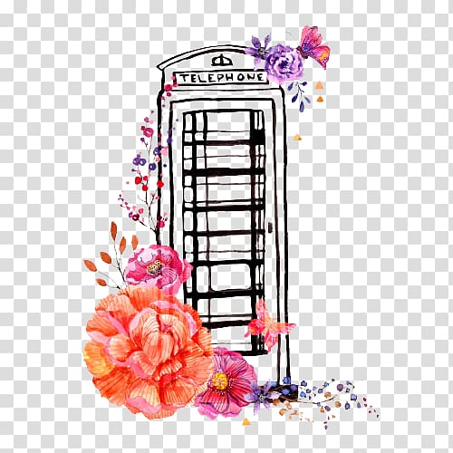 Black telephone boot , London Telephone booth Watercolor.