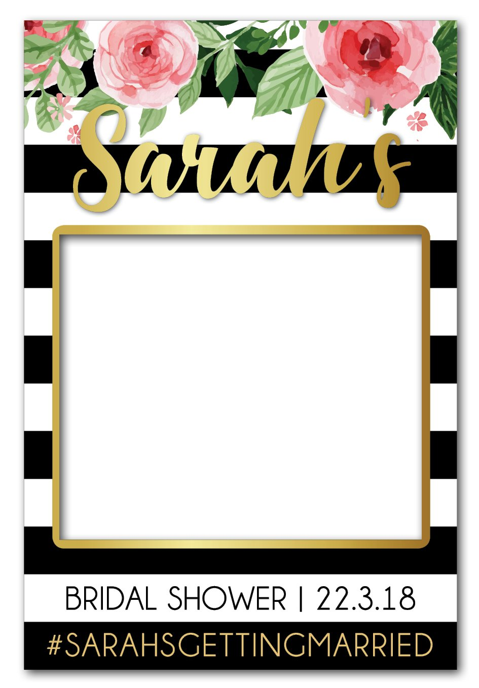 Flowers + Stripes Hens Party Photo Booth Frame (80 x 110 cm).