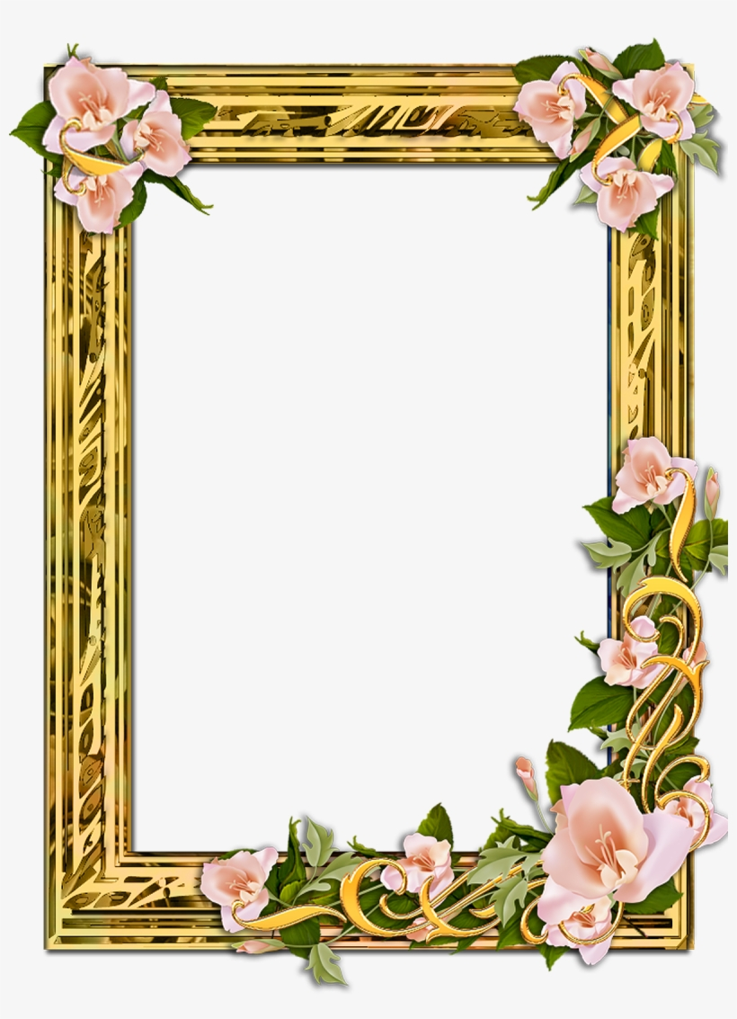 Flower Frame Png, Gold Frames, Backgrounds Free, Png.
