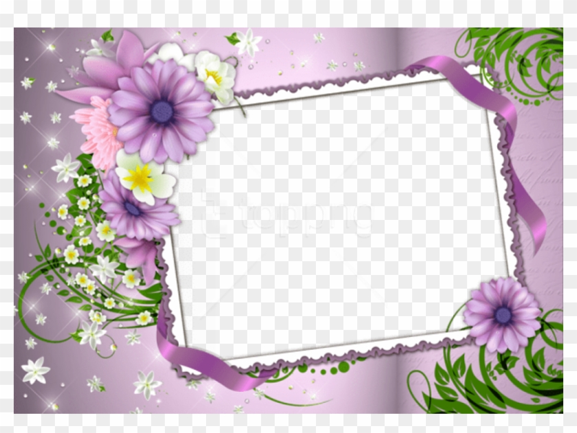 Free Png Violetphoto Frame With Flowers Background.