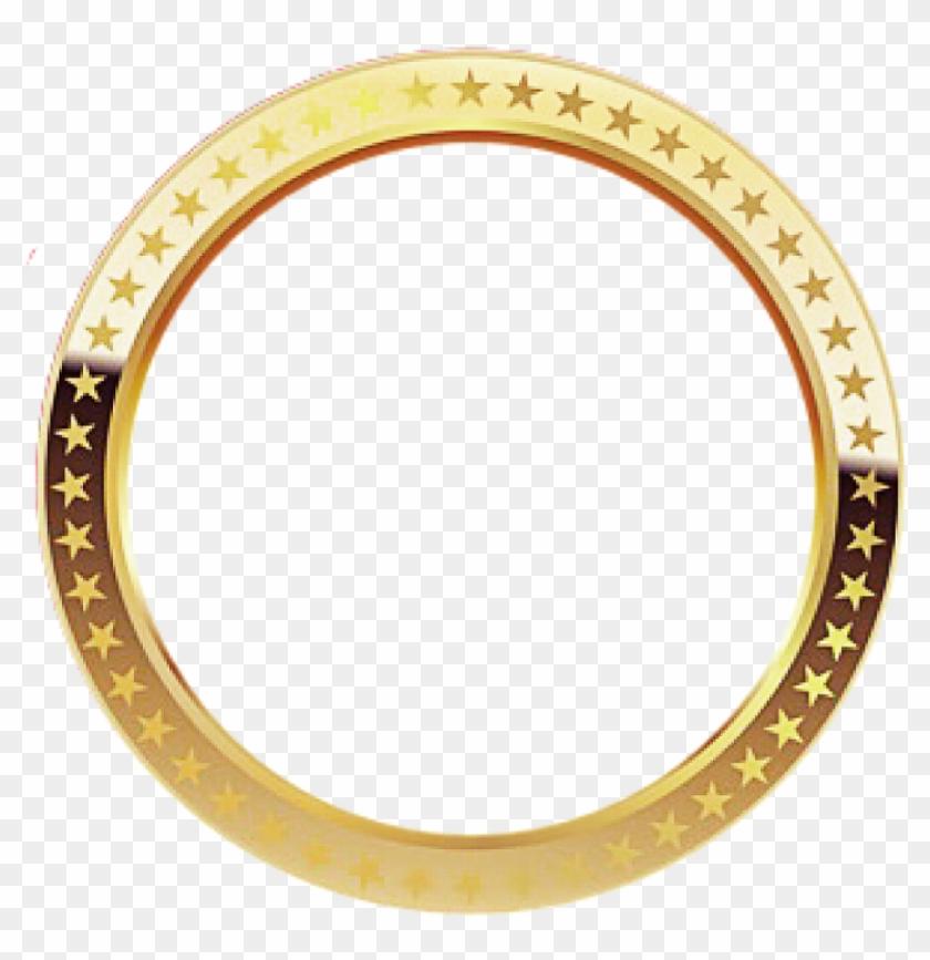 Elvissung Circle Frame Gold Shiny Borderfreetoedit, HD Png.