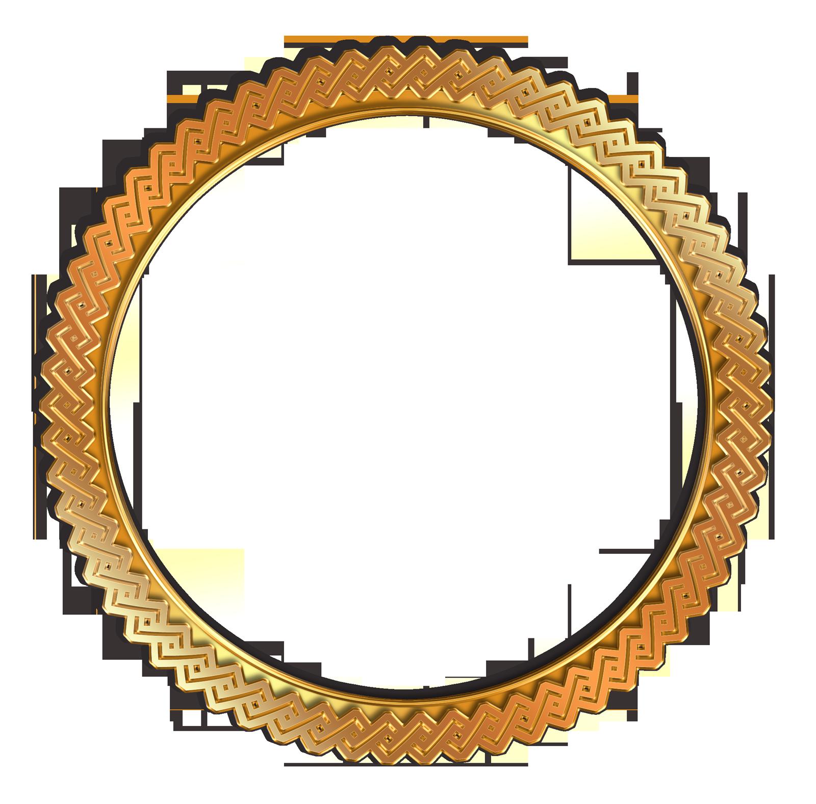 Circle Vintage Photo Frame PNG Transparent Gold.
