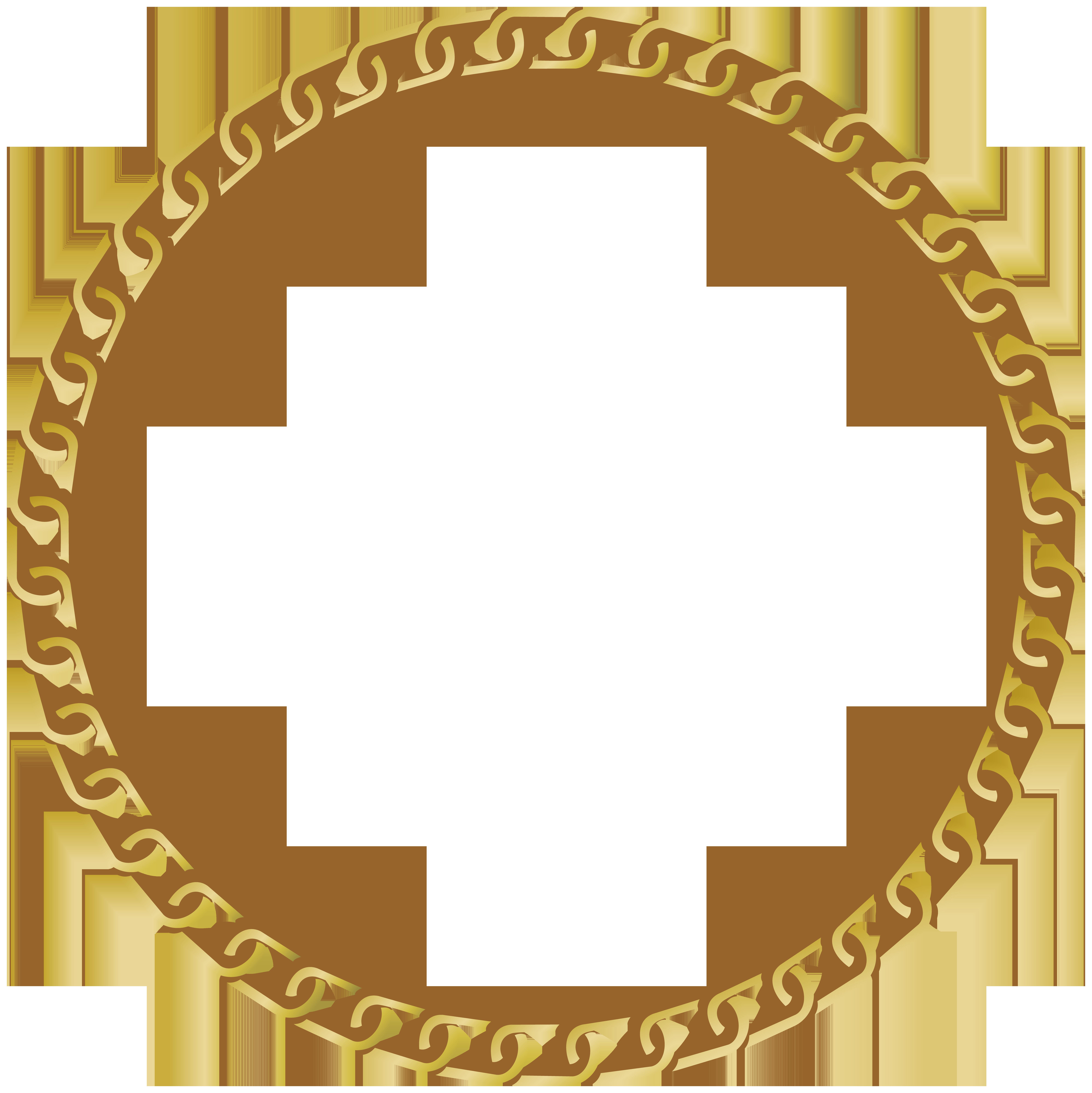Frame Round Gold Transparent PNG Clip Art Image.