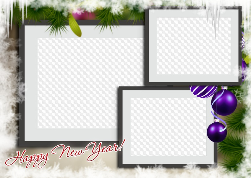 Happy New Year! photo frame collage three photos.