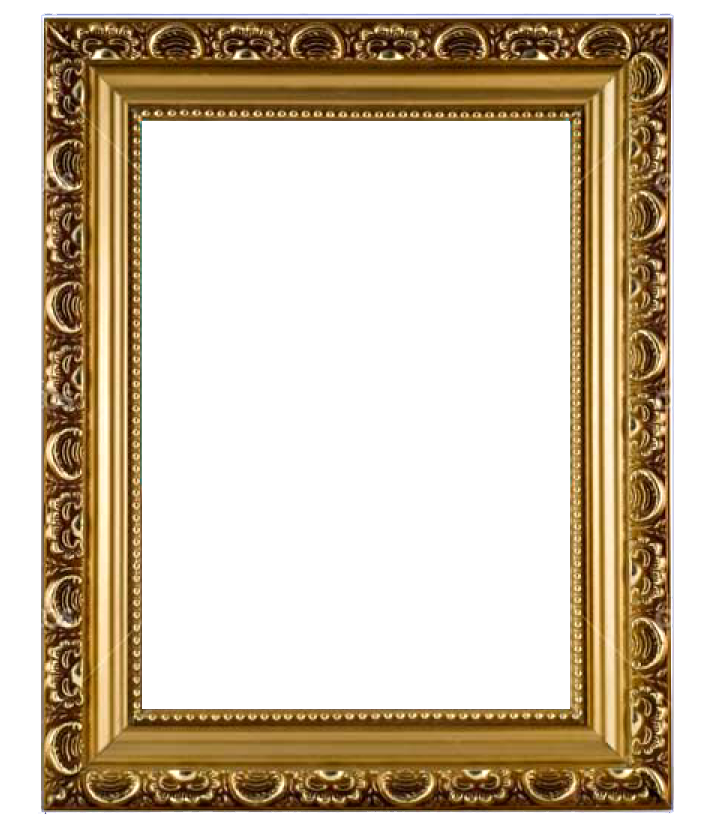 Golden photo frame png image transparent.