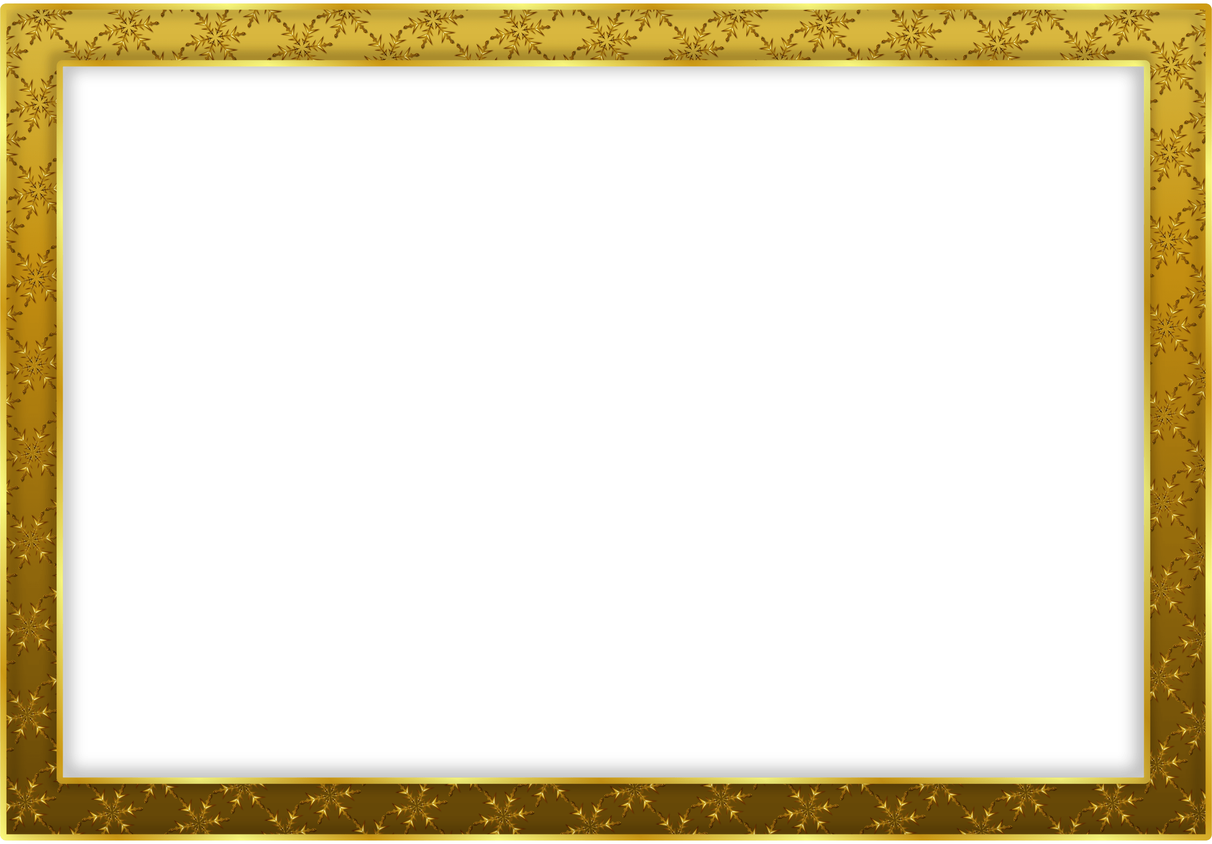Simple Gold Frame Landscape transparent PNG.