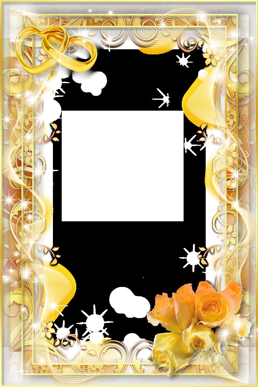 Gold Flower Frame PNG Image.