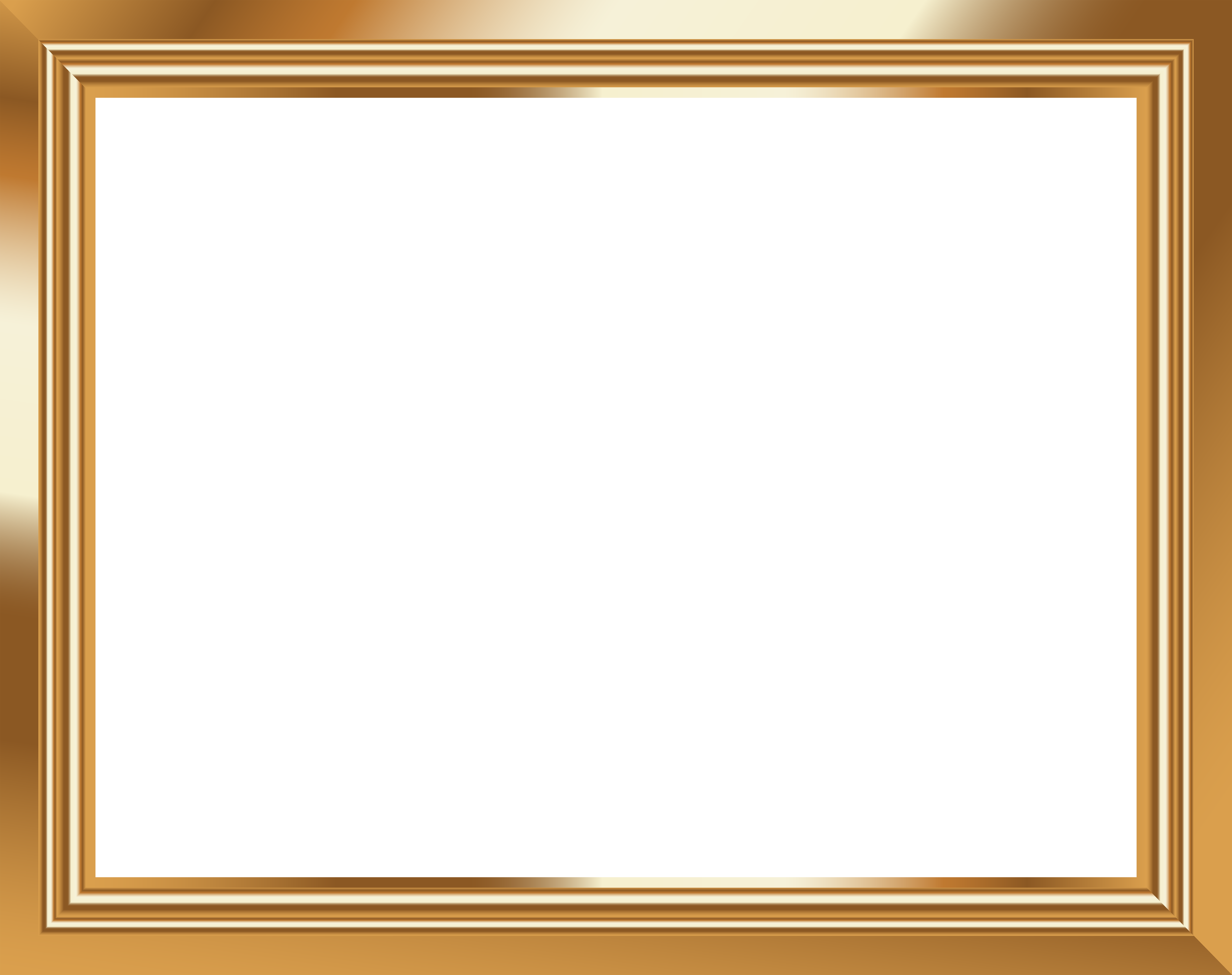 Gold Transparent Frame PNG Image.