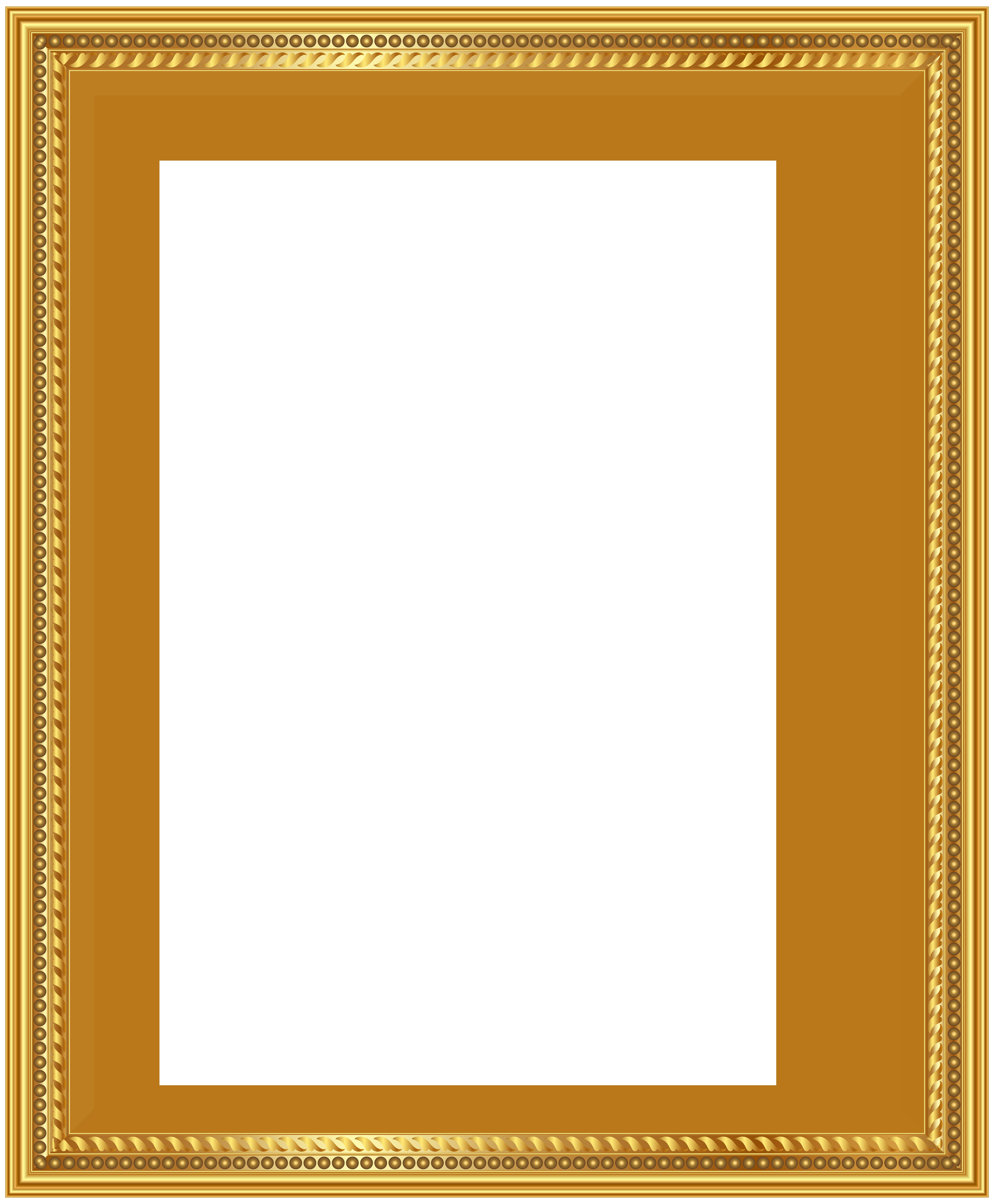 Gold Deco Frame PNG Clip Art Image.