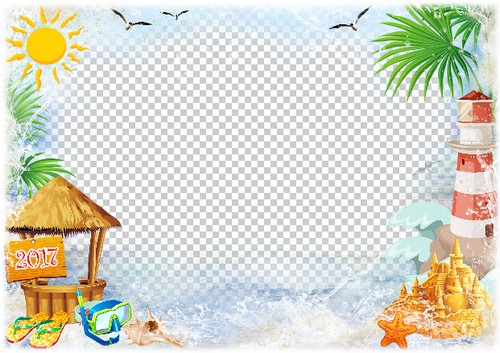 2017 Summer sea photo frame template ( frame psd png.