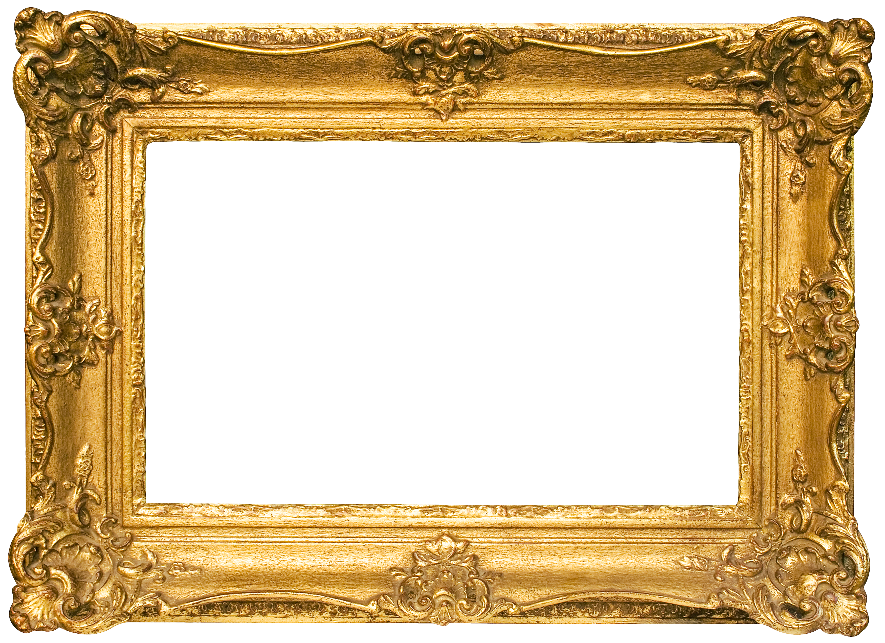Classic Gold Frame Transparent PNG Image.
