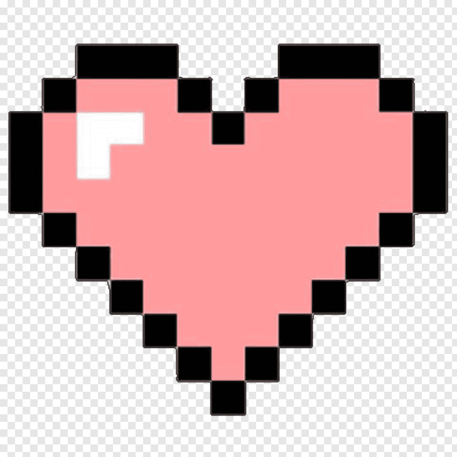 Pink and black heart, Heart Pixel art, BOOTH free png.