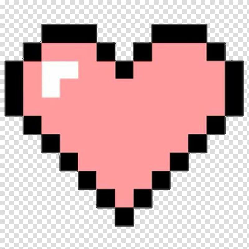 Pink and black heart , Heart Pixel art, BOOTH transparent.