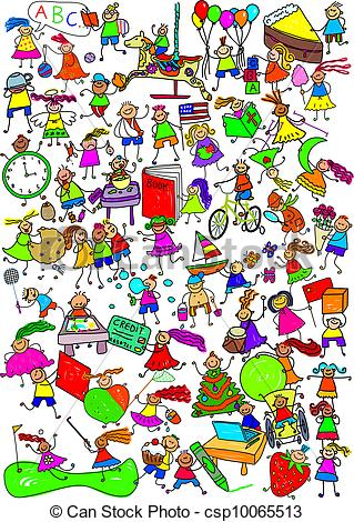 Clipart of Kids Are Great Cartoon Montage.
