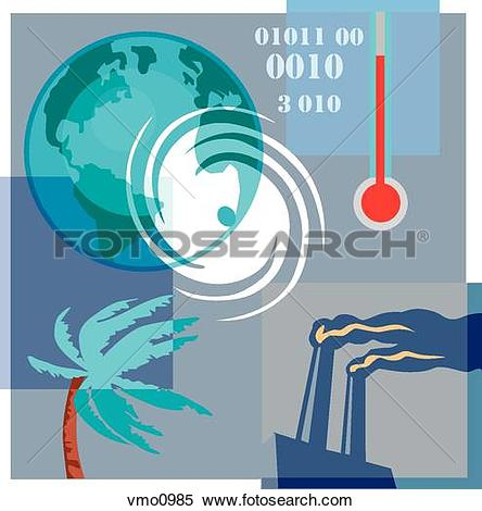 Stock Illustration of Montage illustration about global warming.